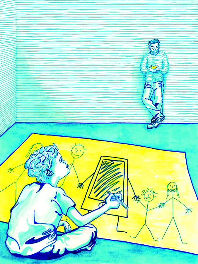 Laura Finke Illustration – Smartphone Usage In Presence Of Children (Concept-Collaboration: Raquel Bueno)