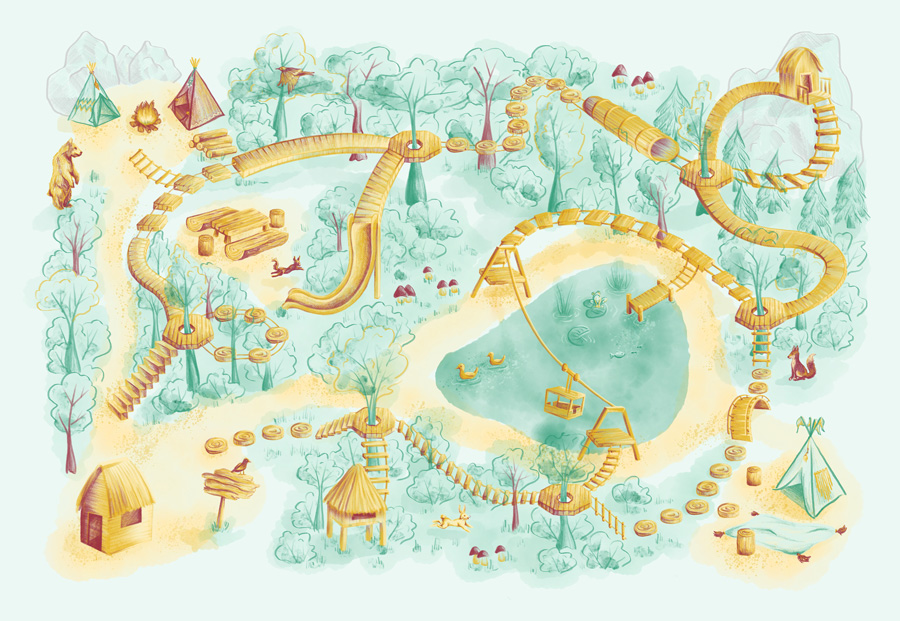 """Activity Rug """"Climbing Forest"""" by Laura Finke Illustration"""
